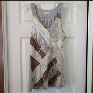 Anthropologie Tiny Patchwork Embellished Tank - S